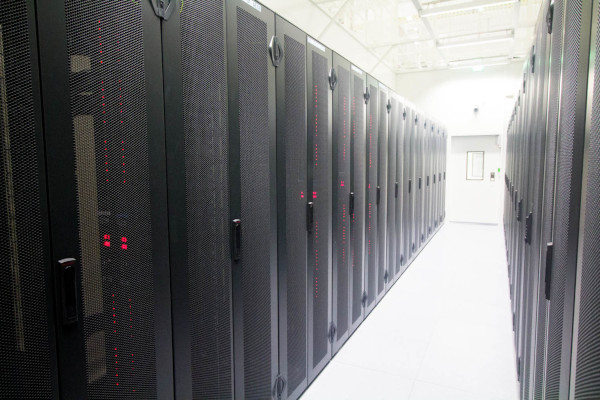 A datacentre with hundreds of servers